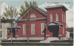 Indiana In Postcard Old PORTLAND Friends Church Building
