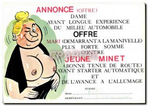 Postcard Modern announcement Lady With Long Experience Middle-automoble