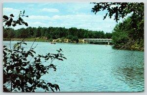 Crivitz Wisconsin~Fishermen on Twin Bridge over Peshtigo River~Motor Boat~1958