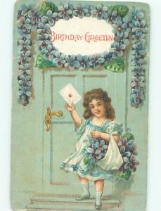 Pre-Linen GIRL COLLECTING FORGET-ME-NOT FLOWERS AC4645