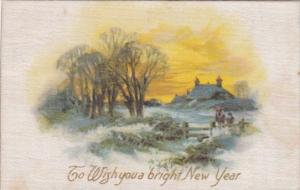 Silk Card To Wish You A Bright New Year With Landscape Scene
