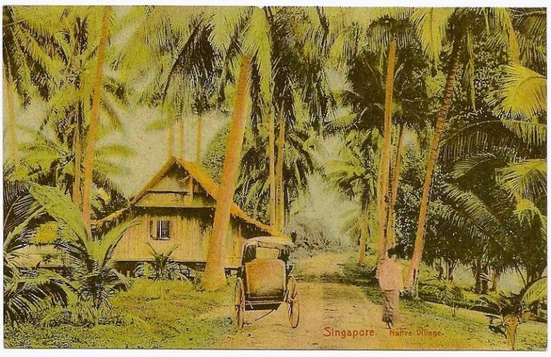 Singapore Native Village vintage colour postcard by Hilckes