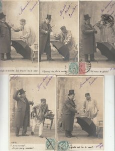 Set 5 early postcards men & umbrella sceneries