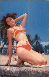 Sexy Bathing Beauty Red Bikini - Pin Up Postcard
