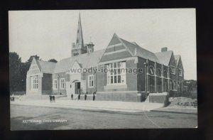 TQ3300 - Northants - Early view of the Free Library in Kettering - postcard