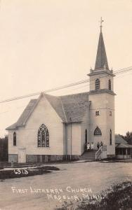 Madelia MN~Youngsters on Steps of First (East) Lutheran Church~ RPPC c1931