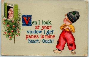 Barton & Spooner Greetings Postcard Dutch Boy Serenading Girl in Window - 1915