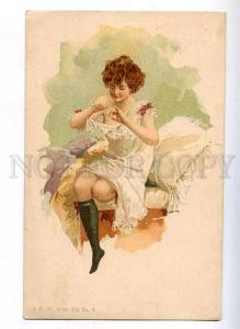 184830 Morning Lady MANICURE Belle Vintage LITHO color PC