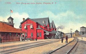 Kingston NY West Shore Depot & Union Railroad Station Train Postcard