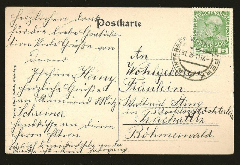 Austria Postmarked 1911 Winterberg Madchenburgerschule Hollub Postcard
