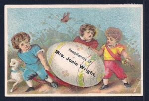 VICTORIAN TRADE CARD Compliments Mrs Josie Wright