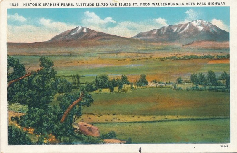 Historic Spanish Peaks near Walsenburg CO, Colorado - Linen