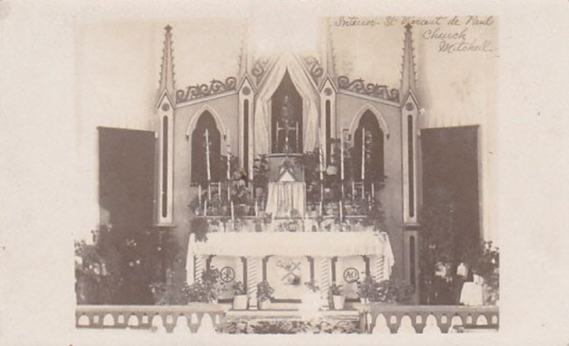 RP: Interior St. Vincent de Paul Church, Mitchell, Perth, Ontario, Canada, 1910s