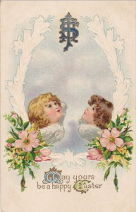 EASTER: May yours be a happy Easter, Angels looking up at IHS, Flowers, 00-10s
