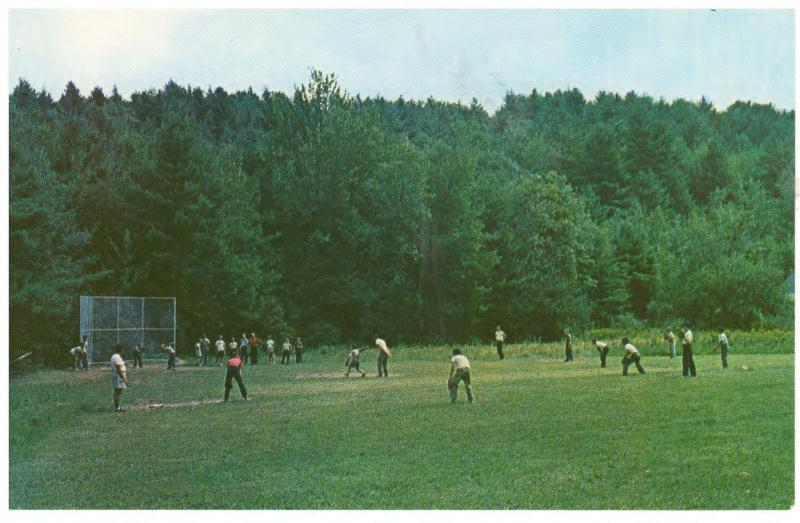 CAMP NOTRE DAME SPOFFORD NEW HAMPSHIRE BASEBALL FIELD VINTAGE POSTCARD (4)
