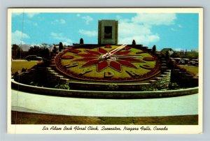 Niagara Falls ON-Ontario Canada, Sir Adam Beck Floral Clock, Chrome Postcard