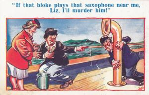 Saxophone Played On Ship Funnel Boat Seasick Old Comic Humour Postcard