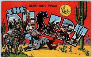 Large Letter Linen THE DESERT Prospector & Mule ~  Kropp c1940s Postcard