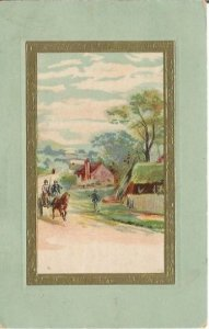 Country Scene Horse Drawn Carriage driving past Cottage Sea Foam Green Frame