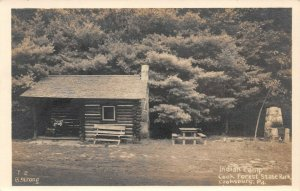 LPS59 Cooksburg Pennsylvania Cook Forest State Park Indian Camp Postcard RPPC