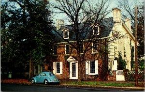 Vtg Ridgely House on the Green Old Volkswagen Bug Dover Delaware DE Postcard