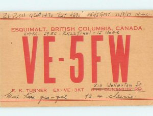 1930s QSL RADIO CARD Vancouver Island British Columbia BC AH3156