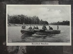 Mint WW2 RPPC Postcard Germany Army Wehrmacht Soldiers Crossing River Speedboat