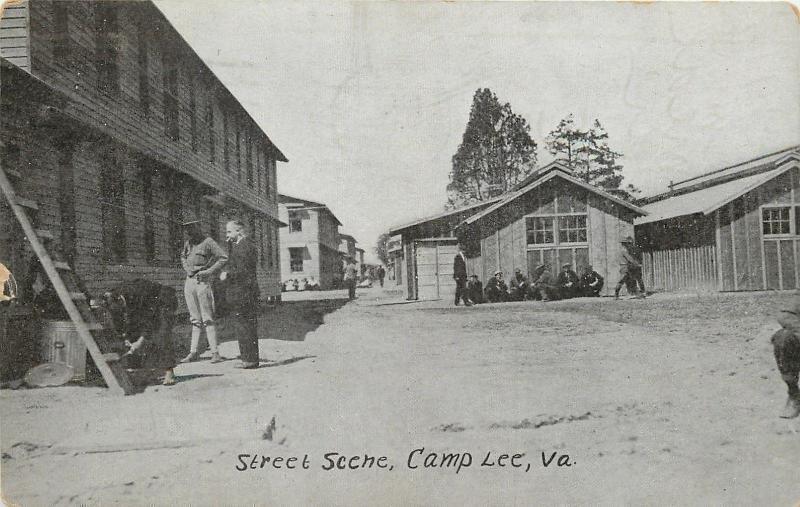 Camp Lee Virginia~Smoker, Trash Can on Street Scene 1917 PC