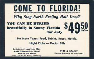 Come To Florida Burial Card 1966
