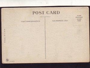 P1604 old unused postcard woman on old telephone louder please