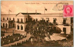Postally Used SAGUA LA GRANDE, CUBA Postcard RAILROAD DEPOT Train Station 1922