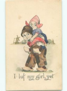 Pre-Linen signed GIRL GETS PIGGYBACK RIDE FROM BOY AC1909