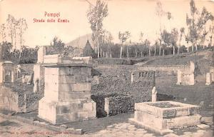 Italy Old Vintage Antique Post Card Pompei Strada delle Tombe Unused