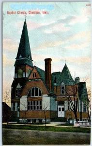 Cherokee, Iowa Postcard BAPTIST CHURCH Building, Street View - Dated 1921