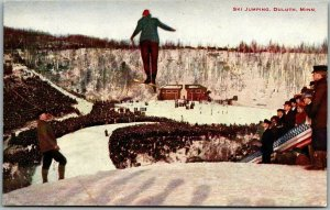 Duluth, Minnesota Postcard SKI JUMPING View from Top of Hill - HAMMON c1910s
