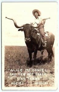 VTG Postcard RPPC Real Photo Alice McDaniel Texas San Tanna Cow Pet Steer A9