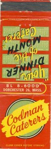 Early Dorchester, Massachusetts/MA Match Cover, Codman Caterers