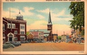 Maine Lewiston Main Street Hospital Square Kora Temple 1946 Curteich