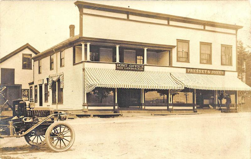 New London NH Post Office Store Fronts Old Car RP Postcard