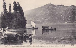 Boats, Lac Du Bourget, Vue Sur Le Lac Et La Dent Du Chat, Environs d'Aix-Les-...