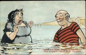 Pervert Man in Water w/ Shocked Woman - Sexual Innuendo Comic c1910 PC
