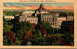 Vtg 1930s Library of Congress and Annex Washington DC Unused Linen Postcard