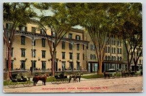 Saratoga Springs New York~American Adelphi Hotel~Horse Buggies~Surrey~c1910 PC