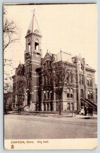 Canton Ohio~City Hall~Men @ Cannon Display~1908 TUCK Silverette
