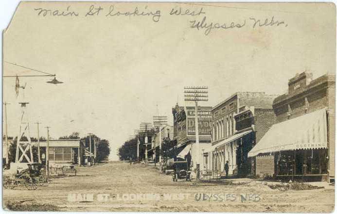 RP Main St. Looking West Ulysses Nebraska NE 1911