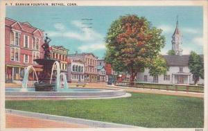 Connecticut Bethel P T Barnum Fountain Albertype 1938