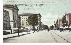 POSTCARD MAIN STREET LOOKING NORTH FROM JEFFERSON SOUTH BEND INDIANA