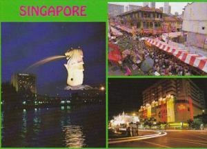 Singapore The Merlion Orchard Road Night Scene & Chinatown Day Scene