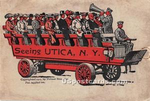 Folder card with inserts of small attached postcards inside Utica NY Stain on...