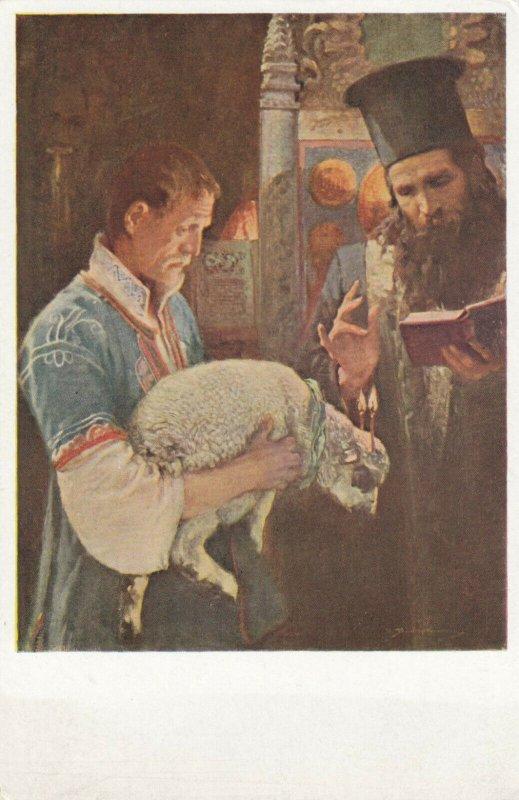 EASTER, 1900-10s; Man holding sheep for blessing, Vesele velikonoce